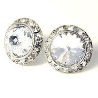 Clear 20mm Crystal Framed Post Earrings Made with Swarovski Elements
