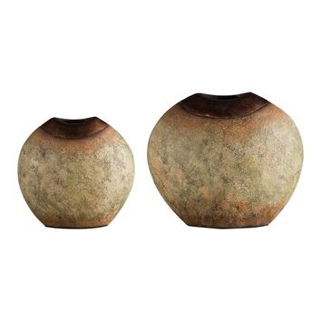 Hadi Textured Verdi Glazed Vases with Copper Leaf Accents  - Set of 2 by Uttermost