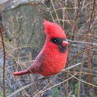 Felt bird - Northern Cardinal (The handcrafted felted action figure of one of the most beautiful American bird)