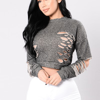 Not Like Most Girls Top - Grey