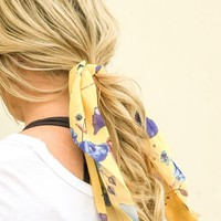 Sophie Yellow Floral Hair Scrunchie with Detachable Scarf