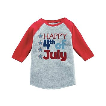 Custom Party Shop Happy 4th of July Raglan Tee