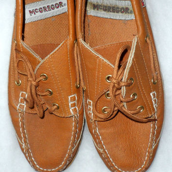 VINTAGE MENS MacGregor LEATHER Loafers or Deck Shoes - Mens Tan Boat Shoes - Mens Moccasins - Mens Lace Up Loafers - Rubber Non Slip Soles