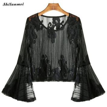 DCCKON3 Fashion Blouse Womens Mesh Tops Summer Blouses Black Flare Sleeve Slit Beach Embroidered hollow transparent Lace Top 2018