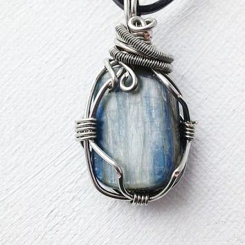 Men's Kyanite Pendant Wire Wrapped, (CUSTOM ONLY) Kyanite Pendant, Wire Wrapped Pendant, Energy Pendant, Men's Necklace
