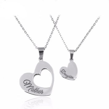 Mother and Daughter Splicing Double Heart Pendant Necklace