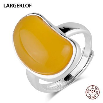 LARGERLOF 925 Sterling Silver Ring Natural Chalcedony Women Fine Jewelry Rings For Women 925 Silver Jewelry  JZ50009