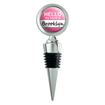 Brooklyn Hello My Name Is Wine Bottle Stopper