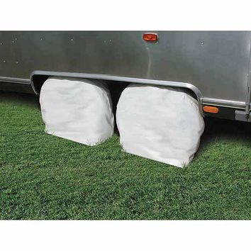 "Camco 30""-32"" Wheel & Tire Vinyl Protector Covers, Arctic White, Set of 2"