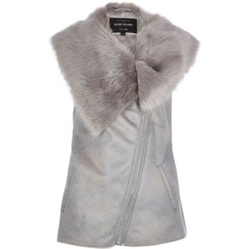 Grey faux fur lined gilet - Gilets - coats / jackets - women