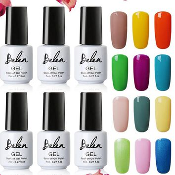 Belen 7ml Pure Summer Color UV Gel Nail Polish Nude Pink Blue Red Green Semi Permanent Lacquer Varnish UV LED Lamp Base Top