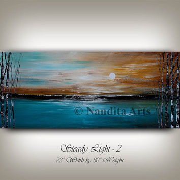 Turquoise Art Original Landscape Abstract Painting on Canvas, Landscape Art, Birch Tree, Contemporary Art, Fine Art, Sunsets, Nandita
