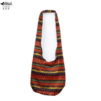 Thai Cotton Hippie Hobo Sling Crossbody Bag Women Messenger Purse Red Striped Diamond Print Large free shipping
