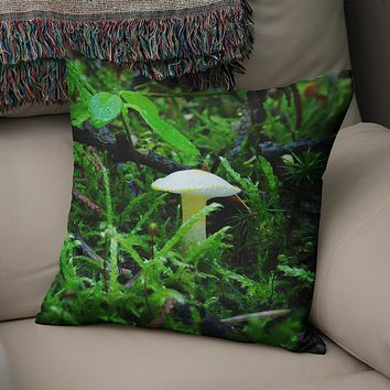 White Mushroom Throw Pillow Cover