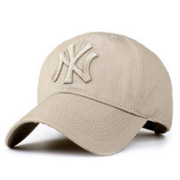 MLB Hat Beige NY Embroidered Unisex Adjustable Outdoor Baseball Cap Hat