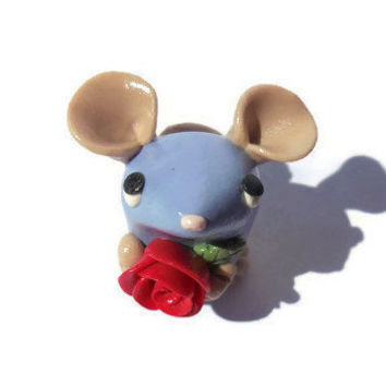 Miniature purple mouse sculpture, polymer clay mouse with rose figurine, kawaii mouse, rat figure, polymer clay animal sculpture.