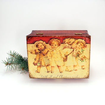 Vintage look Wooden box, Best wishes - Holiday box in vintage style