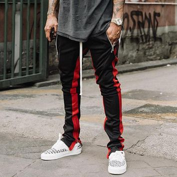 Zipped Ankle Track Pants 2017 High Quality Vintage Contrast Striped Slim Fit Jogger Retro Side Striped Sweatpants