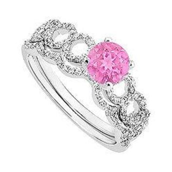 Pink Sapphire and Diamond Engagement Ring with Wedding Band Set : 14K White Gold - 0.75 CT TGW