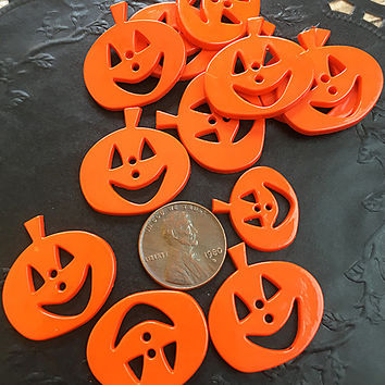 Set of Ten Pumpkin Buttons, Various Sizes, Halloween, Jack-o-Lanterns, Craft Project, Sewing, Card Making, Scrapbooking, Children's Projects