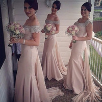 Cap Sleeves 2017 Cheap Bridesmaid Dresses Under 50 Mermaid Satin Beaded Crystals Sexy Coral Long Wedding Party Dresses