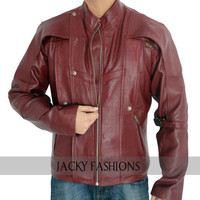 Guardians of the Galaxy Chris Pratt Red Leather Jacket + FREE GIFT
