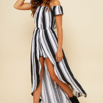 Black Striped Short Sleeve Off Shoulder Maxi Romper