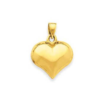 14k Yellow Gold Puffed Heart Charm or Pendant, 17mm