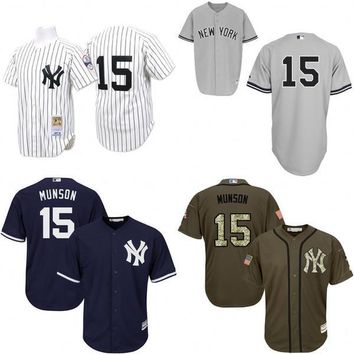 Navy Blue White Throwback Thurman Munson Authentic Jersey , Men's #15 Mitchell And Ness New York Yankees