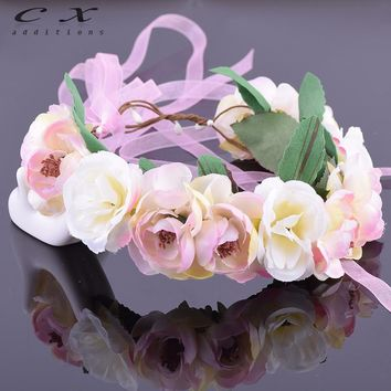 CXADDITIONS Camellia Rose Flower Leafy Fairy Halo Floral Crown Hair Head Wreath Wedding Headpiece Bridesmaid Forest Green Bridal