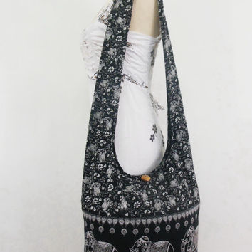 Black Elephant print Hobo Bag Women Hippie Boho handbags gypsy Crossbody bag  bohemian Gsysy Sling Cotton Shoulder Messenger bag Tote Purse