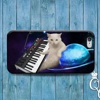 iPhone 4 4s 5 5s 5c 6 6s plus iPod Touch 4th 5th 6th Generation Custom Funny Cat Piano Keyboard Space Galaxy Nebula Phone Case Custom Cover