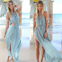 Chiffon Sleeveless Pure Color Irregular Spaghetti Strap Long Dress