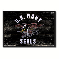 US Navy Seal Military Flag Vintage Canvas Print with Picture Frame Home Decor Man Cave Wall Art Collectible Decoration Artwork Gifts