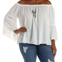 Plus Size Ivory Bell Sleeve Swing Top by Charlotte Russe