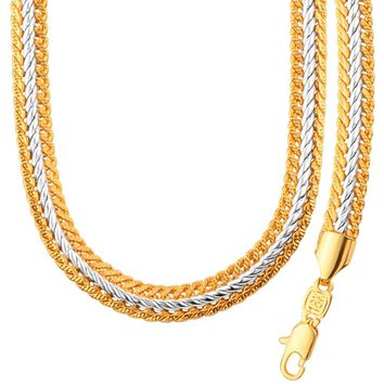 Two Tone Gold Color Men Chain Necklace Bracelet Set