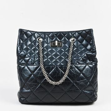"Chanel Black Crinkled Calfskin Quilted ""Reissue Tote"" Bag"
