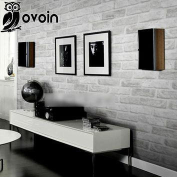 Vintage Embossed Wallpaper Brick Wall Roll Modern Grey White 3D Effect Brick Wallpaper For Walls Living room Background Covering