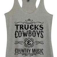 Womens Tri-Blend Tank Top - Trucks Cowboys & Country Music