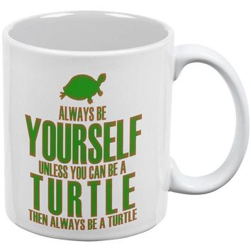 DCCKJY1 Always Be Yourself Turtle White All Over Coffee Mug