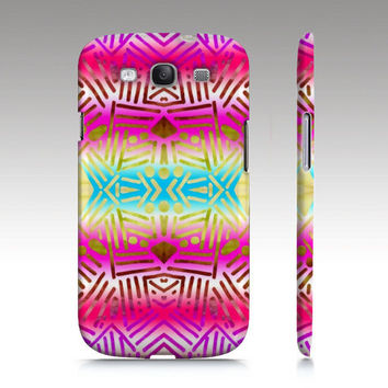 Samsung Galaxy S3 case,SALE and FREE SHIPPING, tribal aztec, tropical batik turquoise yellow pink, in stock and ready to ship