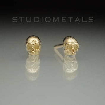 Gold Skull Earrings, Small Skull Earrings, Tiny Gold Studs, Half Skull Earrings, Skull Stud Earrings, Solid Gold Earrings, Baby Skulls, E516