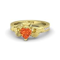 Heart Fire Opal 18K Yellow Gold Ring with White Sapphire