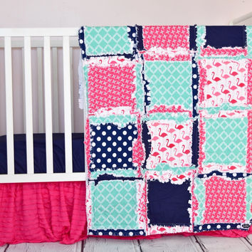 Flamingo Baby Girl Crib Bedding - Pink, Navy Blue, & Mint Nursery