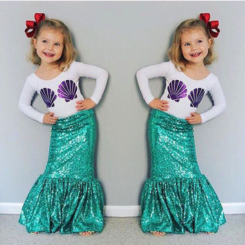 2Pieces Set Super Cute Princess Ariel Mermaid Tail Kid Halloween Costume Shell Print Baby Girl Cos002