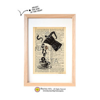 Coffee quote dictionary print-Kitchen wall art-Coffee art print-Coffee quote on book page-Upcycled Vintage Dictionary art-by NATURA PICTA
