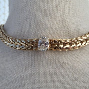Gold V Link Cubic Zirconia Choker, Vintage Necklace 16 inch Chevron Chain with 3 Carat CZ Stone