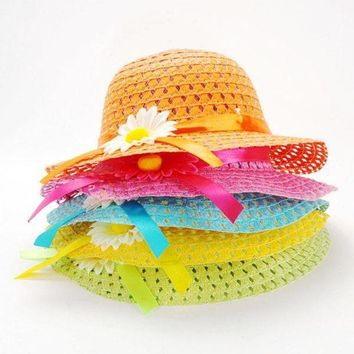 PEAP78W Summer Hat Girls Kids Beach Hats Bags Flower Straw Hat Cap Tote Handbag Bag Suit Hot Selling
