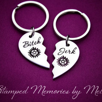 Bitch Jerk - Hand Stamped Fangirl Key Chain Set - Supernatural - Sam and Dean - Hunters - Fandom Gift - Nerd Life - Fan Girl - Winchester