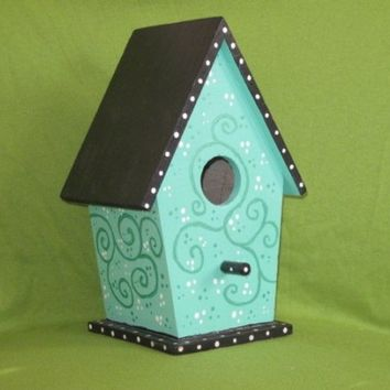 Hand Painted Birdhouse - NESTING IN BLUE -move in ready
